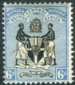 BRITISH CENTRAL AFRICA-1895 6d Black & Blue. A lightly mounted mint exmple Sg 24