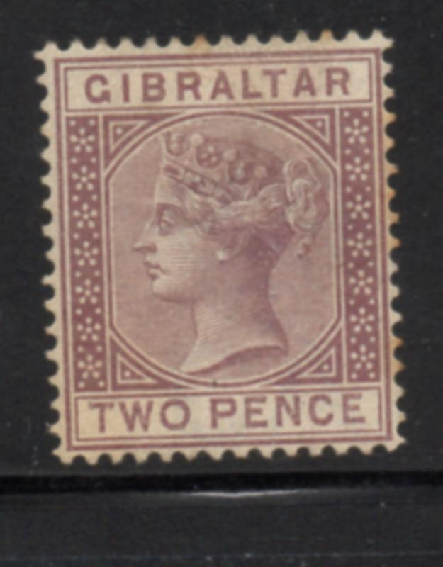 Gibraltar Sc 12 1868 2d brown Victoria stamp mint