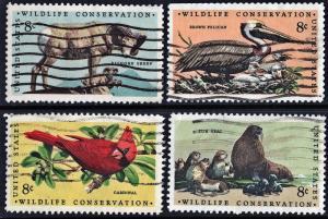 SC#1464-67 8¢ Wildlife Conservation Singles (1972) Used