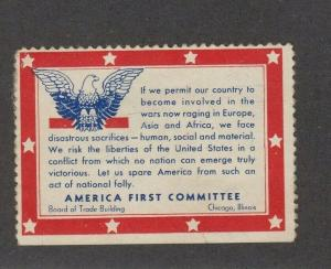 Poster Cinderella Stamp ca 1940 America First Committee Chicago Illinois Part OG