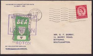 GB 1954 BEA 9d airmail stamp on flown cover London to Southampton...........5621