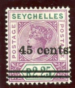 Seychelles 1902 QV 45c on 2r 25c bright mauve & green MLH. SG 45. Sc 37.