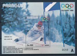 [60907] Paraguay 1987 Olympic games Calgary Pirmin Zurbriggen A Sheet MNH