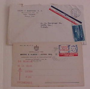 CUBA  ETICUTTE SEAL PAN AM TIED 1945 also NATIONAL SEAL 1930's, 1953 INVALIDES