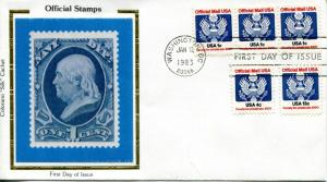 US FDC Scott #O127 1 cent Official. Colorano Cachet. Free Shipping.