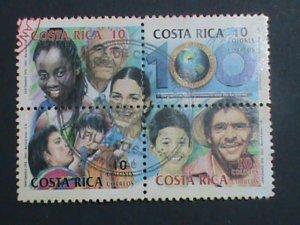 COSTA RICA-2002 SC#558 CENTENARY OF PAN AMERICAN HEALTH ORGANIZATION-CTO BLOCK