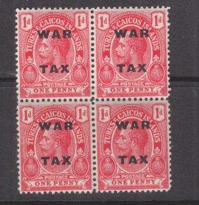 TURKS & CAICOS ISLANDS , 1918 WAR TAX, London overprint, 1d. Block 4, lhm./mnh.