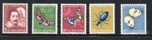 Switzerland Sc B257-61 1956 Pro Juventute Insects stamp set mint NH
