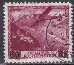 Liechtenstein 1935 Airmail C6 Surcharged with New Rate VF/Used Ruggles CDS