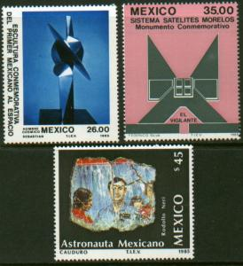 MEXICO 1420-1422 Launch of Morelos II Telecom Satellite MINT, NH. VF.