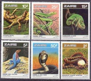 Kinshasa. 1987. 939-44. Snakes fauna. MNH.
