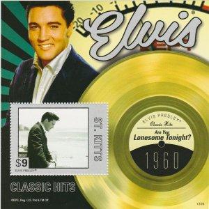 St Kitts - 2013 Elvis Presley Lonesome Tonight Stamp - S/S - STK1306