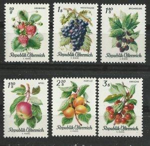 Austria MNH 778-83 Fruits 1966