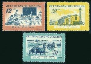 Viet Nam 134-136,hinged.Mi 138-140.Development 1960.Classroom,Plowing,Factory