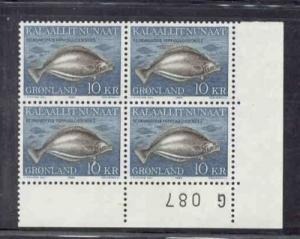 Greenland Sc138 1985 10 kr Reinhardtius Hippo stamp blk of 4