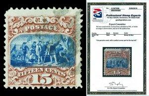 Scott 118 1869 15c Columbus Type I Pictorial Issue Used Fine Cat $800 PSE CERT