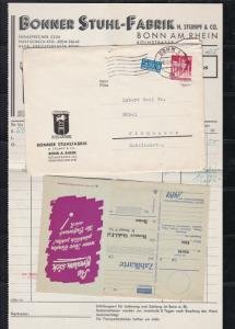 Germany 1950 Bonn Cancel Obligatory Berlin Tax Aid Stamps Cover+Reciept Ref25060