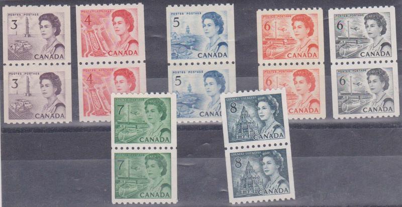 Canada - #466-468B, #549-550 - 1967-71 Centennial Coil Pairs