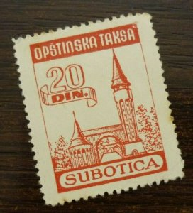 Yugoslavia Serbia SUBOTICA Local Revenue Stamp 20 Din.  CX22