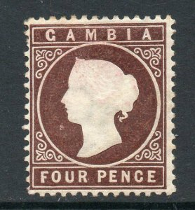 Gambia 1886 4d brown wmk crown CA sideways SG 30 mint