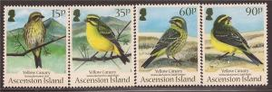 Ascension - 2010 Yellow Canary Birds - 4 Stamp Set #1004-7 - 1K-011