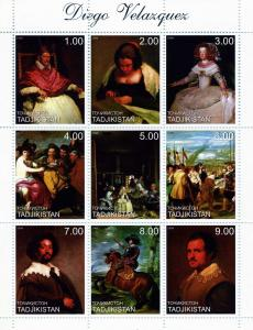 TADJIKISTAN 1999 Diego Velazquez Sheet (9) Perforated mnh.vf