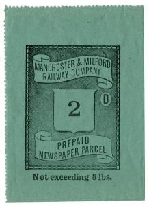 (I.B) Manchester & Milford Railway : Newspaper Parcel 2d (large format)