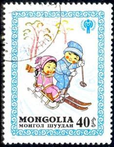 Skiing, Winter's Joy, Intl. Year of Child, Mongolia SC#1149