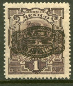 MEXICO 577, 5¢ ON 1¢ BARRIL SURCHARGE. UNUSED, H OG. F-VF.