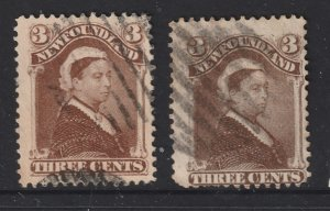 Newfoundland X 2 QV 3d brown used see description