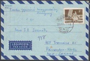 HUNGARY 1966 formular aerogramme commercially used to New Zealand...........J581