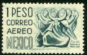 MEXICO C220G, $1Peso 1950 Definitive 2nd Printing wmk 300 PERF 11 MINT, NH F-VF