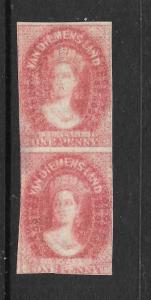 TASMANIA  1857-69  1d     QV  PAIR  MNG DOUBLE PRINT   SG 29a
