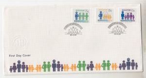 SINGAPORE, 1983 Neighborhood Watch set 3, illustrated First day cover, insert.