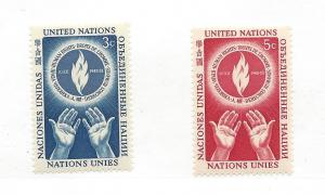 United Nations (NY), 21-22, Human Rights Singles,MNH