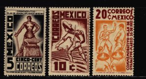 Mexico 1938 Revolutionary Envoy Stamp Short Set 3 Stamps  Scott 737-9 MNH
