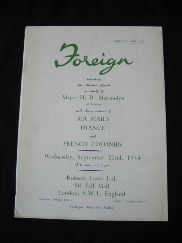 ROBSON LOWE AUCTION CATALOGUE 1954 FOREIGN with FRANCE & COLONIES 'MARCOOLYN'
