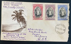 1938 Nuku'alofa Tonga Toga Islands First Day Cover To Caspar CA USA 20th Annievr