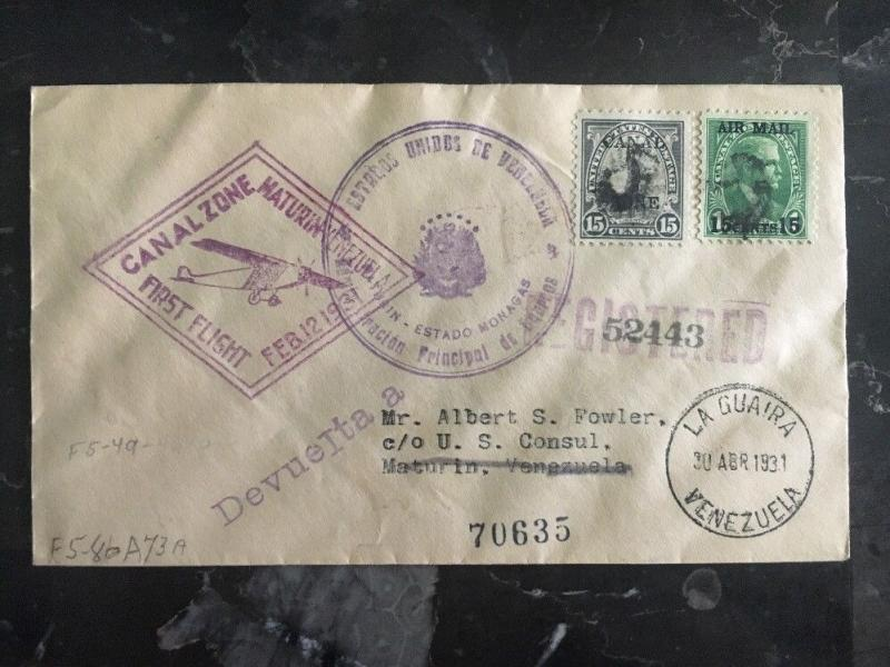 1931 Canal Zone first flight Diplomatic cover To Us Consulate Maturin Venezuela