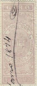ESPAGNE / SPAIN / ESPAÑA 1874 Sello Fiscal (GIRO) 1 Escudo lila - Usado