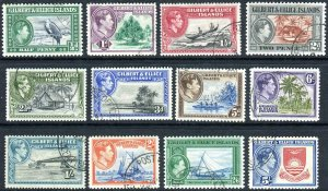 GILBERT & ELLICE ISLANDS-1939-55 FINE USED SET to 5/- Sg 43-54 V42758