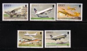 Jersey Sc 418-22 1987 Jersey Airport stamps mint NH