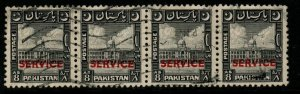 PAKISTAN SGO31 1949 8a BLACK STRIP OF 4 FINE USED