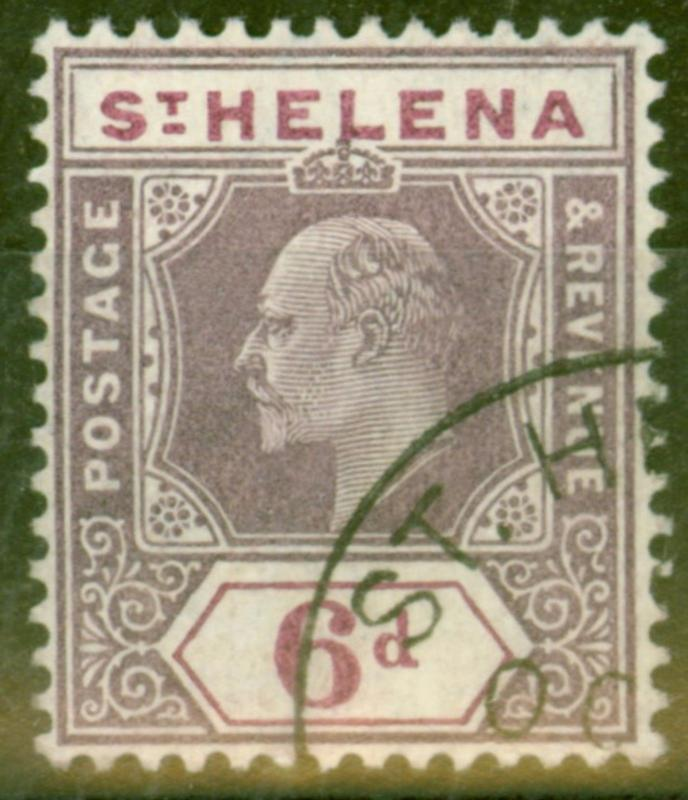 St Helena 1908 6d Dull & Dp Purple SG67 Superb Used