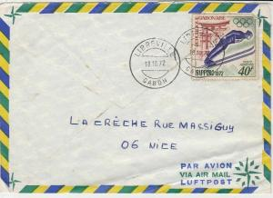 republique gabonaise 1972 olympic skiing airmail stamps cover ref 20174