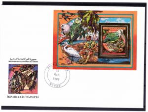 Comoro Islands 1989 Sc#694 Birds/Parrots/Fungi/Scouts Gold S/S Perforated FDC