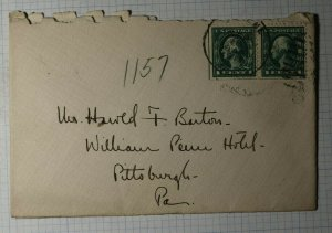 US Sc#498f lef Pane Used On Cover Booklet Pair 1913