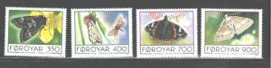 FAROE IsL.1993  BUTTERFLIES  #256-259 MNH
