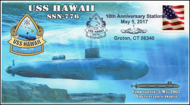 17-126, 2017, USS Hawaii, SSN-776, Submarine, 10th Anniv, Event Cover
