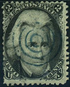 U.S. #73 Used F-VF Blue Fancy Cancel
